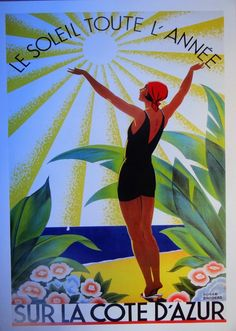 Roger Broders, Sun on Riviera, Vintage Art Deco poster, Côte-d'Azur and nostalgia,  roaring twenties, posters from France, retro French Vintage Wall Art, Vintage Walls, Vintage Prints, Vintage Posters, Art Deco Posters, 1920s Art Deco, Alcohol Ink Painting, Paper Products, Roaring Twenties