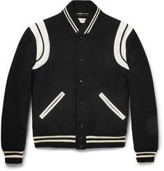 Saint-Laurent Leather-Trimmed Wool-Blend Varsity Jacket