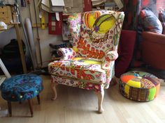 """Parker Knoll armchair re-upholstered & recovered by Ray Clarke, London, July 2013, in an original printed swedish Josef Frank linen (design circa 1945) ,trimmed in """"lemonade"""" velvet by Today's Interiors Palermo range"""