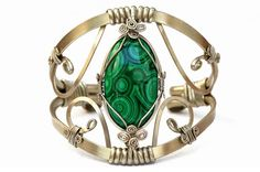 Cuff Bracelet with Malachite stone  Wire Wrap Bangle by HyppieChic, $60.00