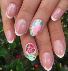 french nails with romantic painted flowers Painted Flowers, French Nails, Romantic, Painting, French Tips, Painting Art, Paintings, Romance Movies, Paint