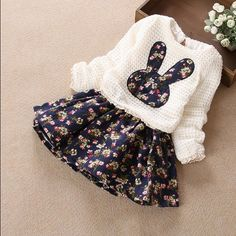 Hot 2016 Girls Fall Winter Floral Splicing Cute Princess False 2 Pcs Dress Kids Knitted One-Piece Children Clothes Dresses G207