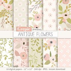 "Floral digital paper: ""ANTIQUE FLOWERS"" vintage flowers, digital clip art papers, hand drawn, patterns, floral background, old pink green"