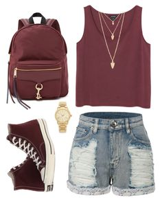 """Look of the Day #95!"" by designer01kitty on Polyvore featuring Monki, LE3NO, Converse, Rebecca Minkoff, Michael Kors, Forever 21, gold, maroon and lookoftheday"