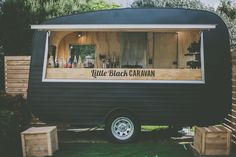 Coffee van, Little Black Caravan #littleblackcaravan  https://www.facebook.com/littleblackcaravan _ mostly counter with fridges underneath