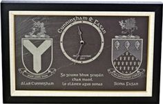 Buy personalized frame slate engraved clock with family coat of arm (crests) to gift on wedding or anniversary function from our online Irish gifts shopping store Wedding Blessing, Irish Wedding, Wedding Gifts, Personalized Wedding, Personalized Gifts, Personalised Frames, Irish Blessing, Family Crest, Crests