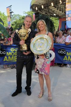John McEnroe and Chris Evert with the Wimbledon Championship trophies on Good Morning America in New York this morning...