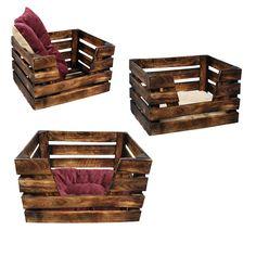 Katzenkorb aus Holz Obstkiste im Shabby Chic - Upcycling Möbel - Ein Schlafplatz für Katze und Hund