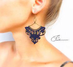 Your place to buy and sell all things handmade Macrame Earrings, Tribal Earrings, Macrame Jewelry, Fabric Jewelry, Beaded Earrings, Macrame Cord, Micro Macramé, Bijoux Diy, Macrame Patterns