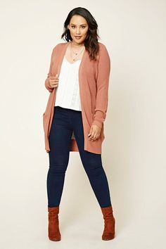 Forever 21+ - A longline ribbed knit cardigan featuring an open front, and front pockets.