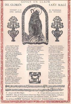 Sant Magi, Goig en Llaor del Glorios.  Xilografia numerada y firmada R. Vives. nº 50