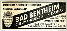 Original-Werbung/ Anzeige 1934 - BAD BENTHEIM - ca. 110 x 40 mm