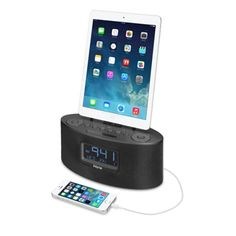 iHome iDL46 Stereo FM-klockradio med Lightning-docka - Apple Store (Sverige) Ipod, Phone, Radios, Apple Store, Mac, Amazon Echo, Lightning, Radio Alarm Clock, Speakers