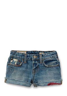 Ralph Lauren Childrenswear Denim Piper Wash Shorts Toddler Girl