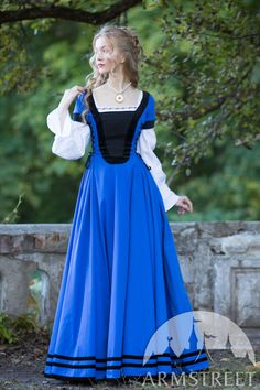 "Fitted Dress with Velvet ""Renaissance Memories"" for sale. Available in: dark blue cotton, green cotton, blue cotton, burgundy cotton, black cotton :: by medieval store ArmStreet"