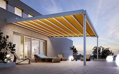 Wall-mounted pergola with sliding cover RIVERA Pergola & terrace awnings Collection By STOBAG Outdoor Decor, Shade Canopy, Aluminum Pergola, Wall Mounted Pergola, Pergola Lighting, Pergola Plans Design