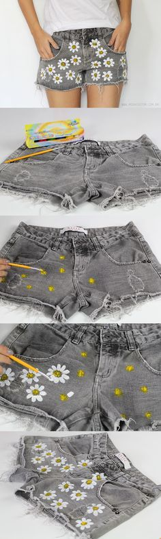 DIY Fashion Ideas – What you Need to be Creative – Designer Fashion Tips Diy Shorts, Diy Jeans, Fabric Painting, Diy Painting, Painting Flowers, Fabric Art, Diy Fashion, Ideias Fashion, Womens Fashion