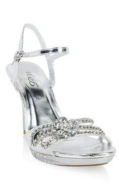 open toe metallic dressy high heel with rhinestone detail  debs