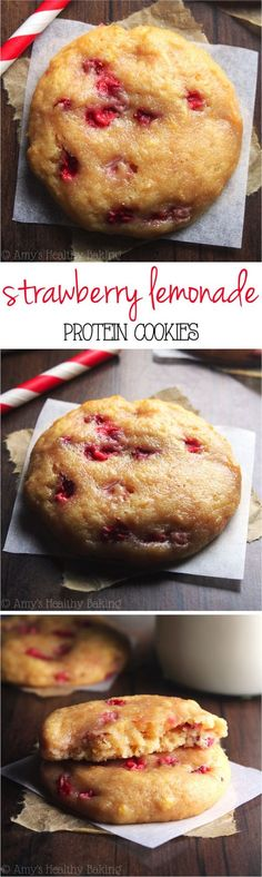 Strawberry Lemonade Protein Cookies -- these skinny cookies don't taste healthy at all! Packed with 5g of protein & 100% acceptable for breakfast!