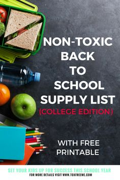 Set your kids up for success this year with my non-toxic college supply checklist. Find everything you need from decorating your dorm to keeping it clean. via @Toxfreeme