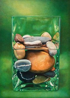 graphite drawings, colored pencil, stones, still-life, landscape, Massachusetts artist | D. L. Friedman