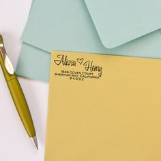 Custom Return Address Stamp with modern calligraphy, perfect for #wedding #invitations