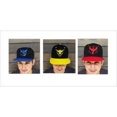 Pokemon GO. Casquette de Baseball de broderie. Casquette. Instinct. ($19) ❤ liked on Polyvore featuring accessories, hats, baseball snapback hats, embroidered snapbacks, snap back hats, snapback hats and baseball hats