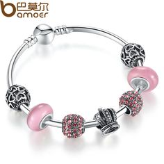 BAMOER 925 Silver Charm Bracelet Bangle with Open Your Heart & Crown Pink Murano Glass Beads Bracelet PA3070
