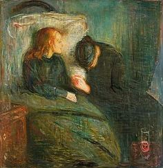 Edvard Munch, The Sick Child, 1896. The second painting was completed while the artist was living in Paris, Konstmuseet, Gothenburg.