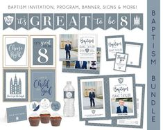 This classic baptism bundle is the perfect way to invite friends and family to your sons baptism and decorate for his special day. Save time preparing by purchasing this baptism kit! The bundle designs include a coordinating baptism invitation, baptism program, baptism signs, note cards with a title Christmas Card Template, Christmas Photo Cards, Lds Baptism Program, Baptism Announcement, Blank Banner, Boy Baptism, Tent Cards, Baptism Invitations, Thank You Tags