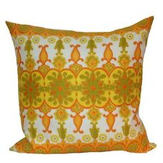 "Vintage Fabric Yellow Cushion Cover, Retro Throw Pillow 18"" x 18"" #Handmade By Retro68"