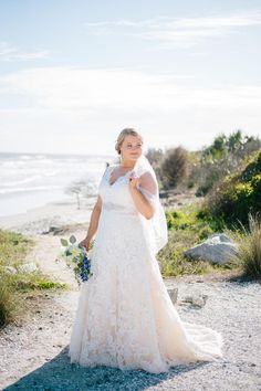 Lace overlay, short sleeves, v-neck, wedding dress, Charleston bride // Riverland Studios
