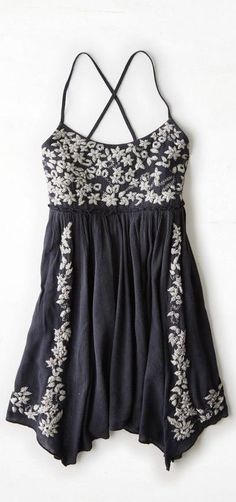 Black Embroidered Babydoll Dress