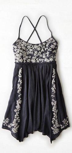 Black Embroidered Babydoll Dress