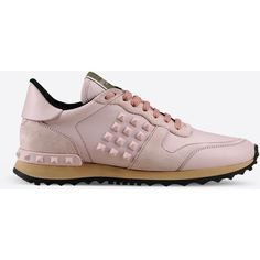 Valentino Rockrunner sneaker ($845) ❤ liked on Polyvore featuring shoes, sneakers, light pink, light pink shoes, valentino shoes, rubber sole shoes, valentino sneakers and studded sneakers