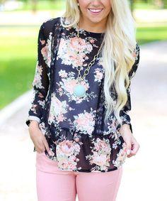 b57bedff6 Bella Ella Boutique Black Sheer Floral Lace-Accent Blouson Top - Women