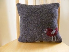Grey Felted Wool Accent Pillow with Bird Applique by joyanddelight, $38.00