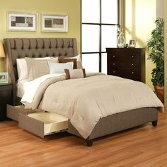 upholstered bed frame with drawers - Google Search