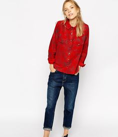 Make a bold statement in a red suede shirt.