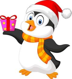 Illustration of Cute penguin cartoon holding present vector art, clipart and stock vectors. Pinguin Drawing, Bunny Drawing, Drawing For Kids, Penguins And Polar Bears, Cute Penguins, Christmas Drawing, Christmas Art, Cute Penguin Cartoon, Christmas Cake Topper
