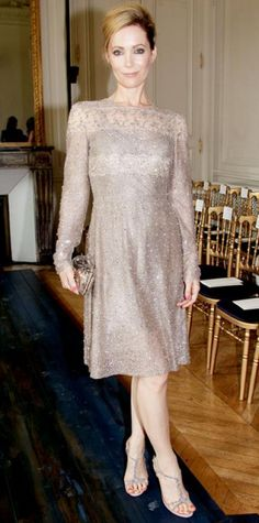 Look of the Day › July 6, 2012 WHAT SHE WORE Mann sparkled in a champagne Valentino dress, sleek minaudiere and embellished heels at the label's haute couture show.