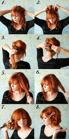 oh i KNOW mine will not turn out like this. Divide hair into 2 sections, from 1 ear to another. Pin up top section to keep out of the way. Pull bottom section into ponytail. Twist ponytail into sm bun & pin flat against your head. Unpin top section & divide into sm strands. Fold strands in 1/2 & pin up underneath & try to hide pins! Once you've pinned all strands, carefully use curling iron to flip strands out just a little. This will look more natural. Pin any loose pieces & you're done!