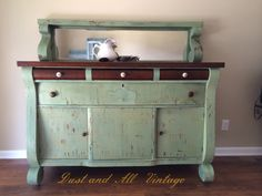Items similar to SOLD - Vintage Empire Buffet Sideboad Server Chippy Milk Paint Green on Etsy Find Furniture, Vintage Furniture, Painted Furniture, Furniture Ideas, Project Ideas, Diy Projects, Empire Furniture, Green Palette, Decor Ideas