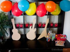 Rockstar Kids Birthday Party - decorate your own guitar station