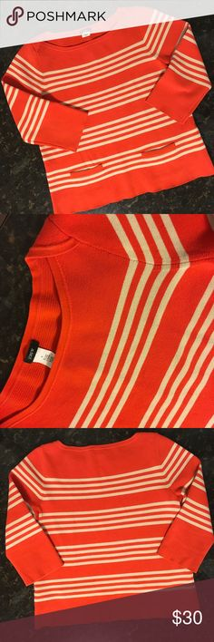 J. Crew Sweater Top Bold orange & cream stripes encircle you in this J. Crew sweater, or top.  2 little front pockets.  Mid-weight knit.  In excellent condition. J. Crew Sweaters Crew & Scoop Necks