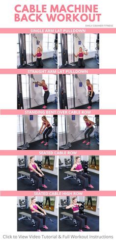 Cable Machine Back Workout Gym Back Workout, Back And Bicep Workout, Back And Shoulder Workout, Gym Workout Plan For Women, Gym Workouts Women, Gym Workout For Beginners, Gym Workout Tips, Biceps Workout, Fitness Workout For Women