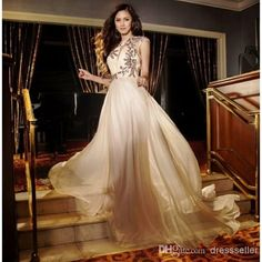 Attractive Kim Chiu Crew Sleeveless A-line Long Ruffle Chiffon Sequins Beaded Evening Prom Dresses Online with $128.55/Piece on Dressseller's Store | DHgate.com