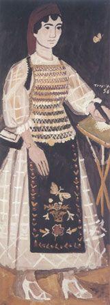 """ΓΙΑΝΝΗΣ ΤΣΑΡΟΥΧΗΣ: """"Γυναίκα από την Αταλάντη με πεταλούδα"""", ιδιωτική συλλογή Costume, Victorian, Vintage, Painting, Beauty, Dresses, Fashion, Impressionist, Beautiful Images"""