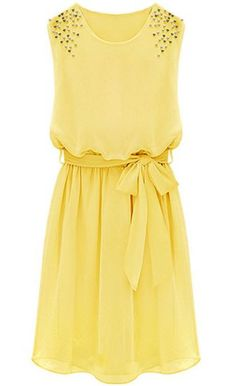 Yellow Sleeveless Bead Belt Chiffon Sundress