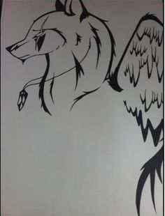 Disclaimer: This wolf was not created by me I found it on the internet and decided to make it out of Sharpie. I do not know who or where this wolf originated from. Title: Wings of Grace. Again the wolf was created on a normal poster board out if sharpie. I love tribal art and learning the style I use images off the internet and copy them to see how they work. It's easy to copy but doing one on your own definitely takes time.